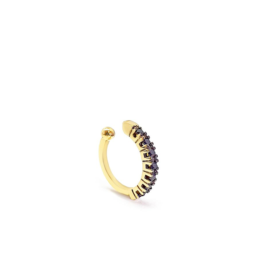 Piercing Fake Ouro 18k com Diamantes Negro