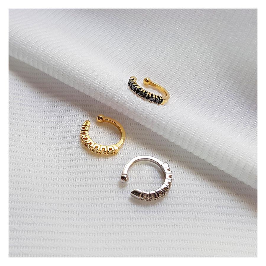 Piercing Fake Ouro 18k com Diamantes Negro  - YVES