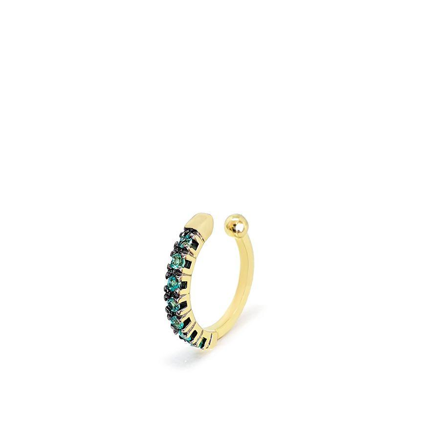 Piercing Fake Ouro 18k com Esmeraldas