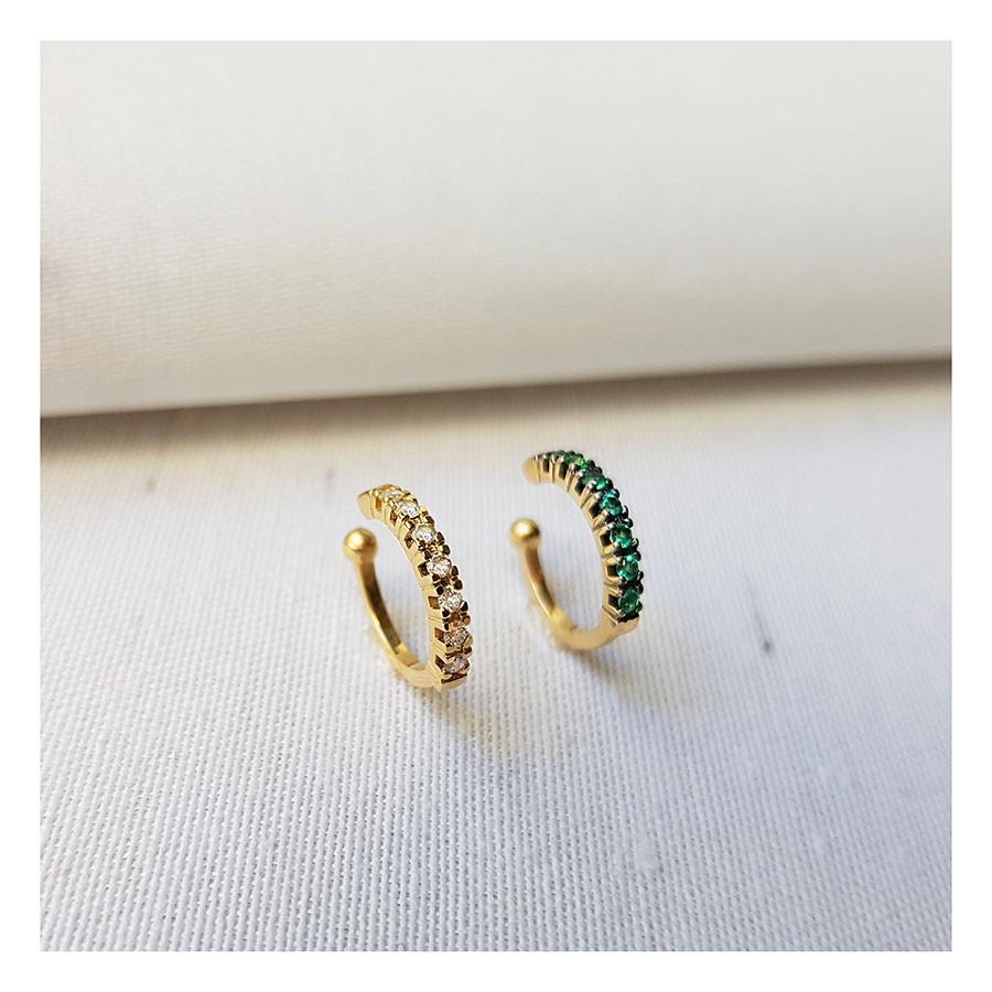 Piercing Fake Ouro 18k com Esmeraldas  - YVES