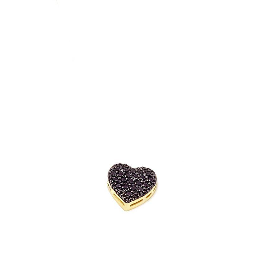 Pingente Coração Ouro 18k com Diamantes Negro