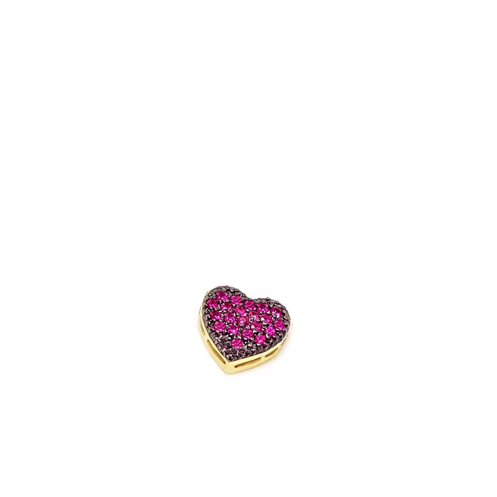 Pingente Coração Ouro 18k com Rubis