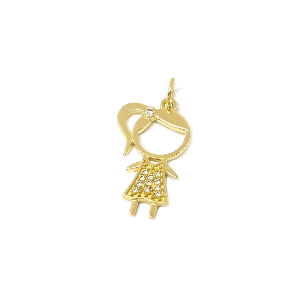 Pingente Menina Ouro 18k com 12 Diamantes