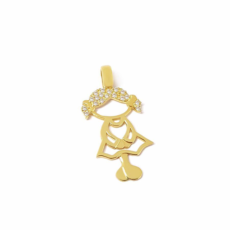 Pingente Menina Ouro 18k com 18 Diamantes