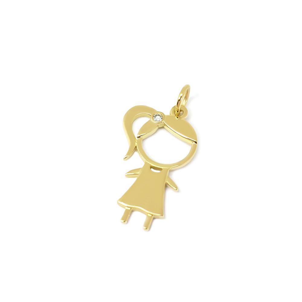 Pingente Menina Ouro 18k com 1 Diamante