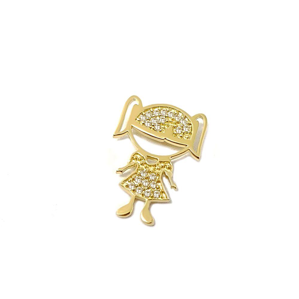 Pingente Menina Ouro 18k com 22 Diamantes