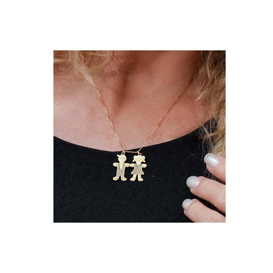Pingente Menina Ouro 18k com 37 Diamantes  - YVES