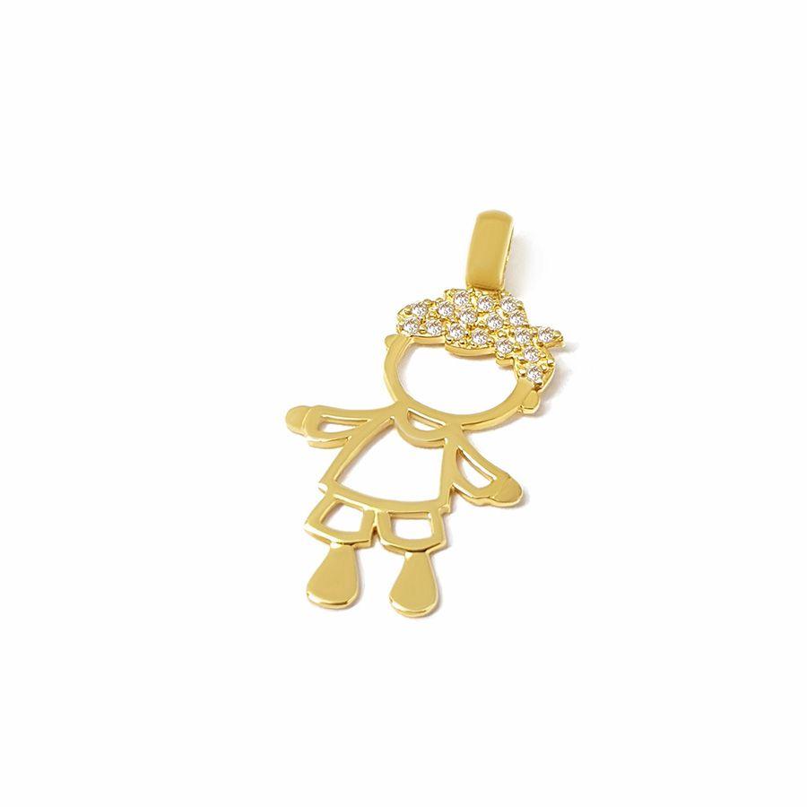 Pingente Menino Ouro 18k com 17 Diamantes