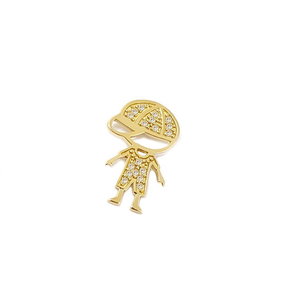 Pingente Menino Ouro 18k com 18 Diamantes