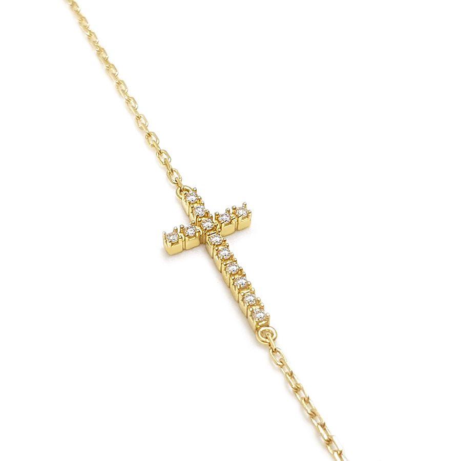 Pulseira Cruz Ouro 18k com Diamantes