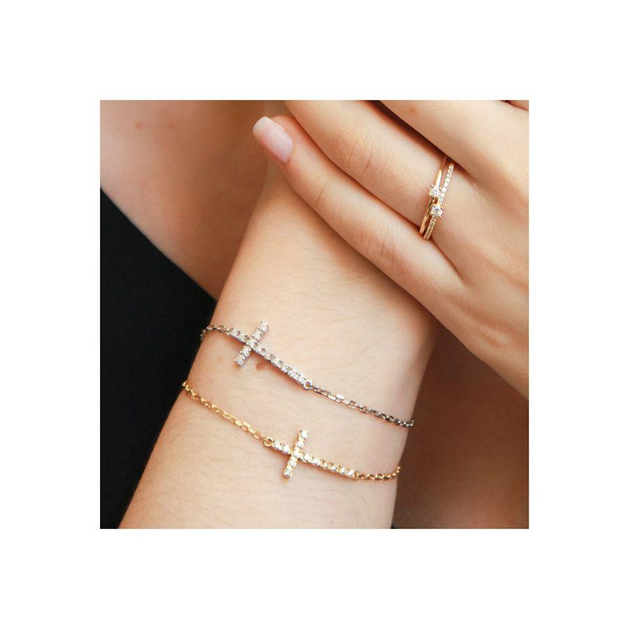Pulseira Cruz Ouro 18k com Diamantes   - YVES