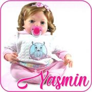 Boneca Bebê Reborn yasmin C/Chupeta Magnética e Acessórios Completo