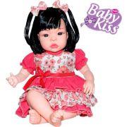 Boneca Tipo Reborn Baby Kiss  Balbucia Aperte Barriga