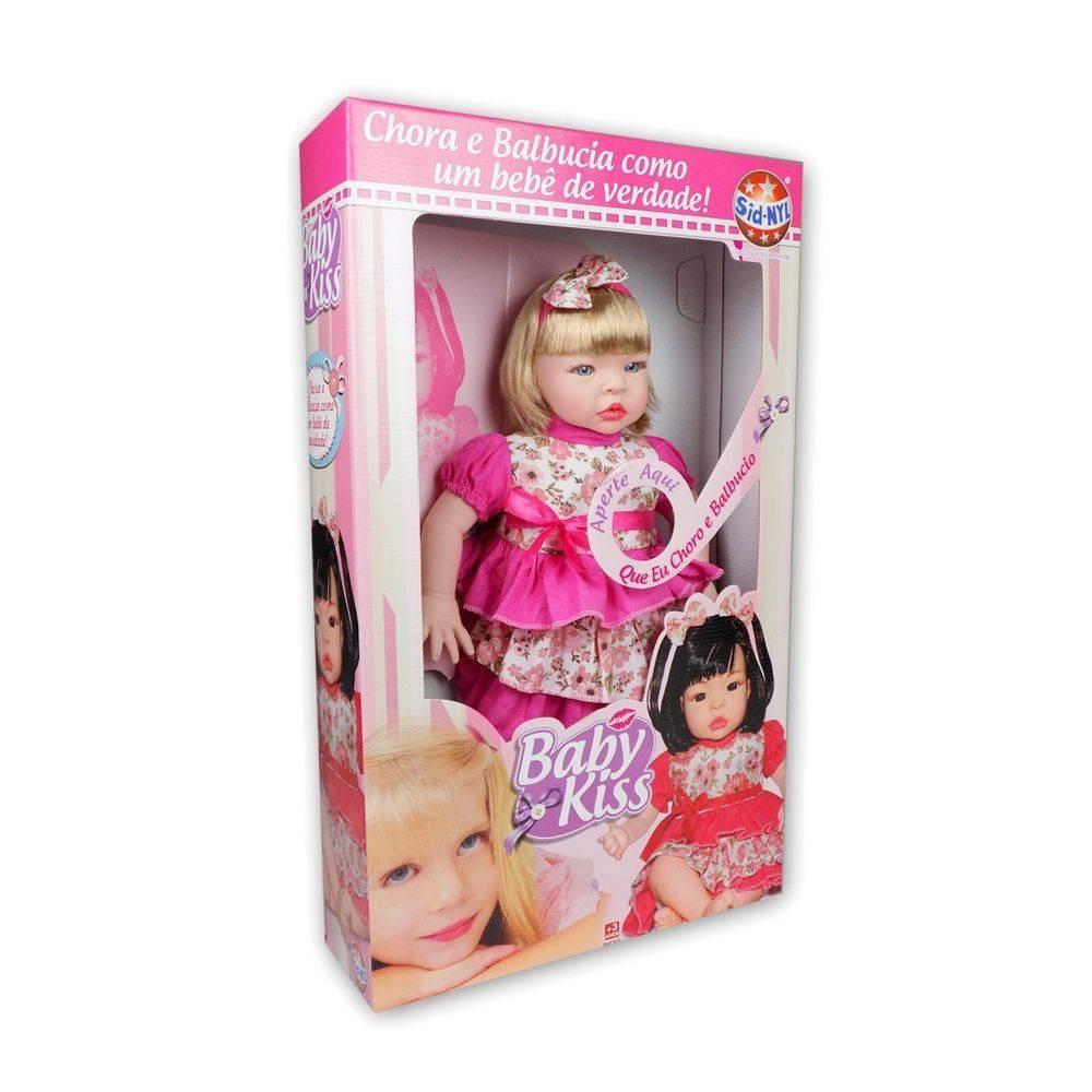 Boneca Tipo Reborn Baby Kiss Chora Balbucia-loira Original