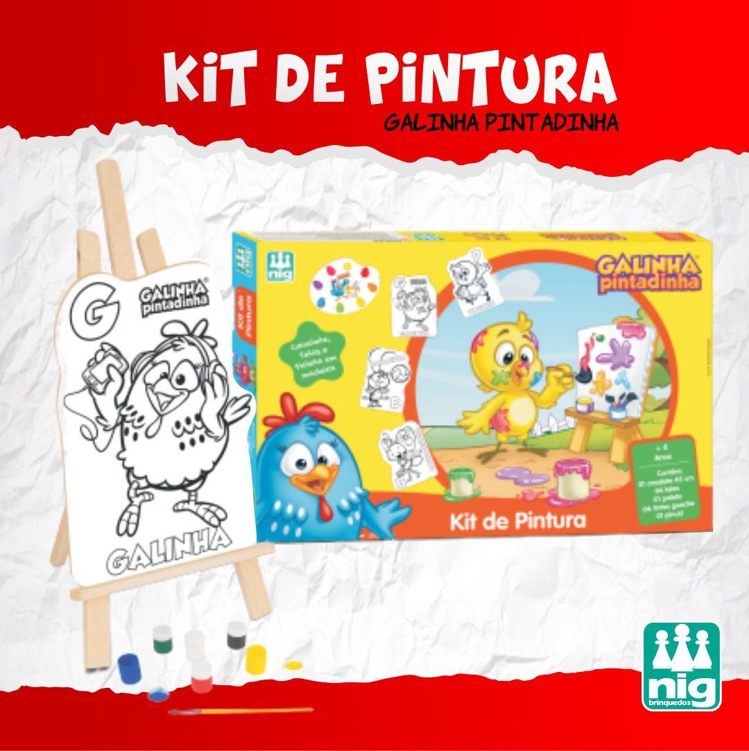 KIT PINTURA GALINHA PINTADINHA (45CM)+TINTAS+TELA C13 PEÇAS