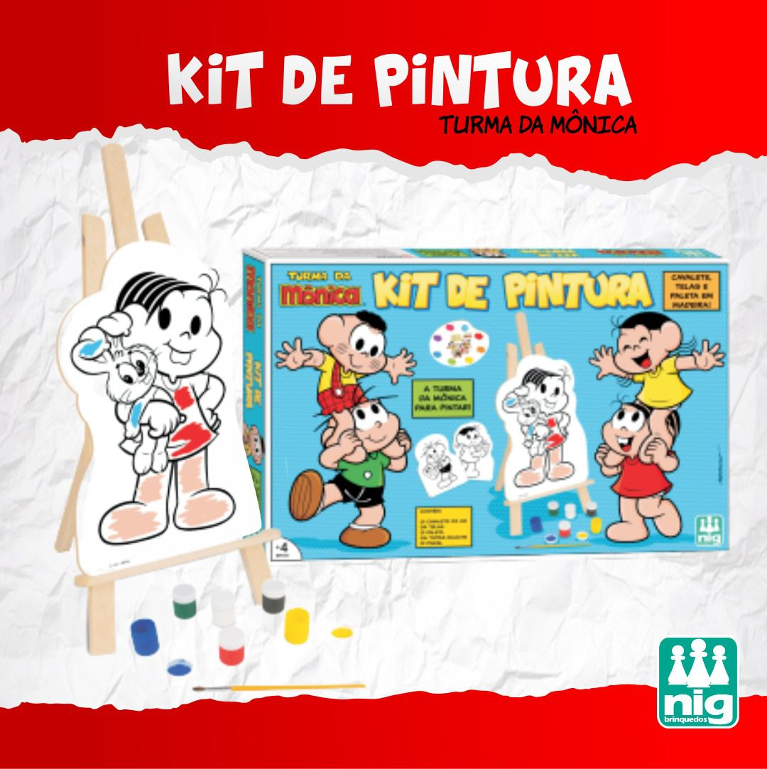 KIT PINTURA TURMA DA MONICA CAVALETE45CM+TINTA+TELA C13 PEÇA