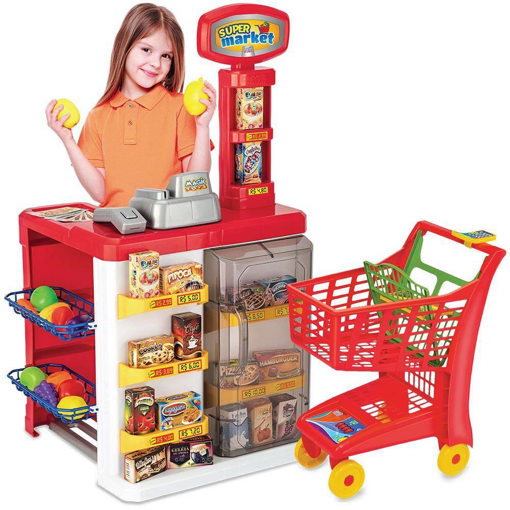 Mercadinho Infantil Super Market+ Carrinho De Compra