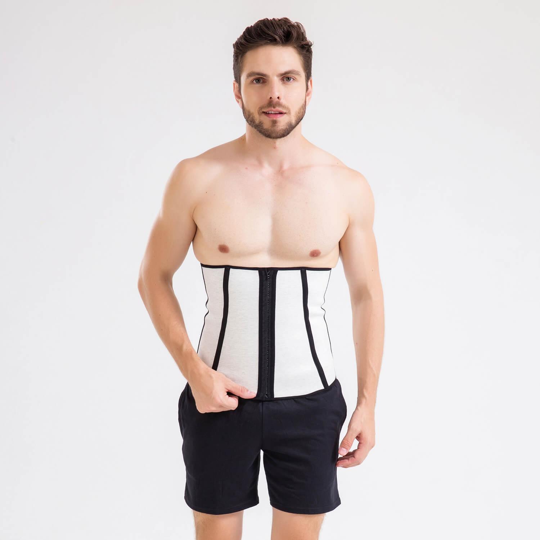 071 Cinta abdominal Waist Trainer com barbatanas angulares, forro externo e fecho por colchetes de dupla regulagem.
