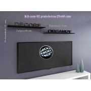Kit com 02 Prateleiras Flutuante 25x60 cms com suporte incluso KIT-PBS-2560