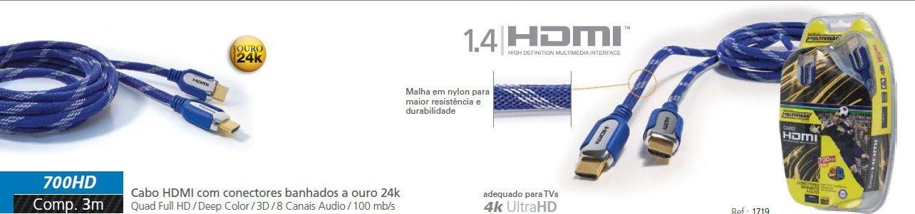 700 HD3 MtsCabo HDMI versão 1.4 com revestimento de Nylon, Conectores Metálicos e Plug Ouro 24K