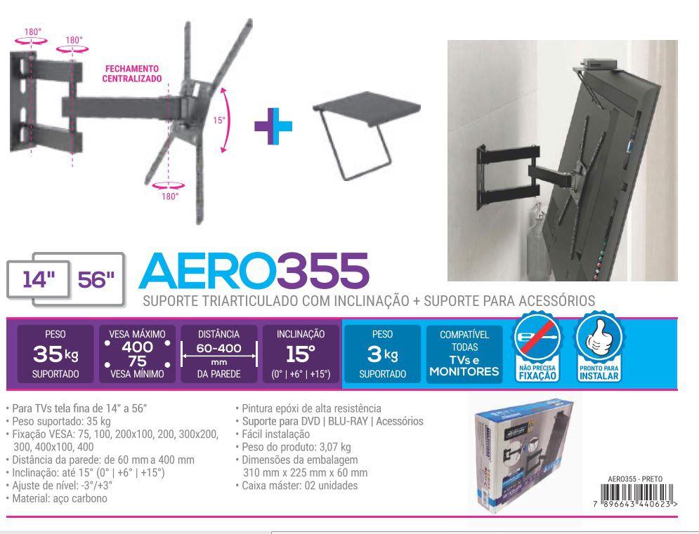 Aero 355 Suporte para tv ate 56 pol + suporte para auxiliar Cor: Preto