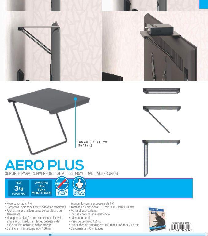 AERO PLUS Suporte para conversor digital e/ouacessórios Cor: Preto
