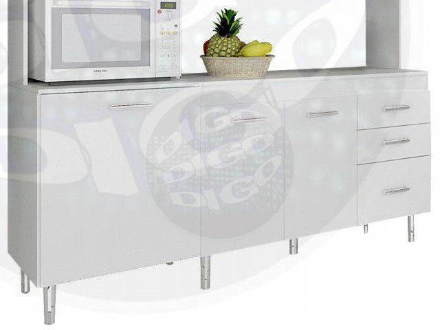 COZINHA ISADORA BRA Kit-Cozinha C/Porta Basculante em MDP 15mm Pés Cromados, Corrediças Metálica pis