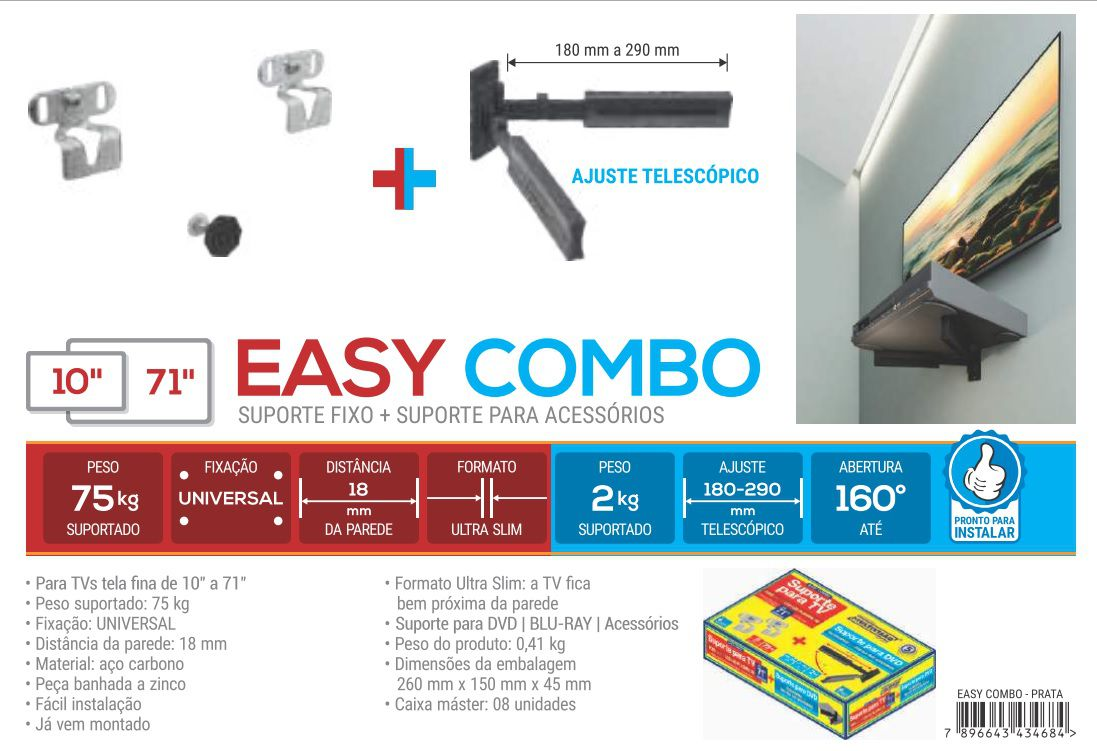 EASY COMBO Suporte fixo UNIVERSAL + Suporte para DVD/Acessórios Cor: Preto