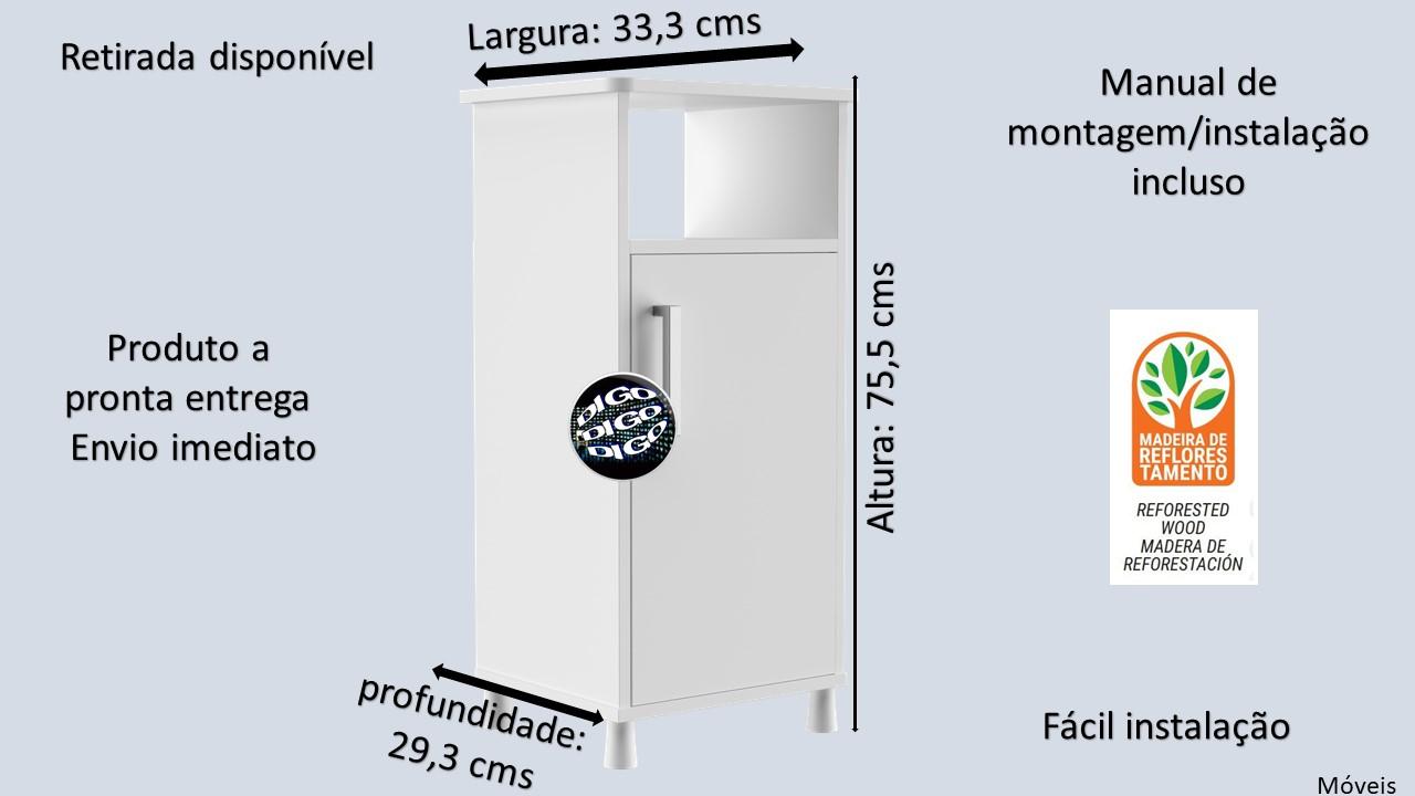 "Gallon Gabinete para Filtro d'água ""UV""- Branco"