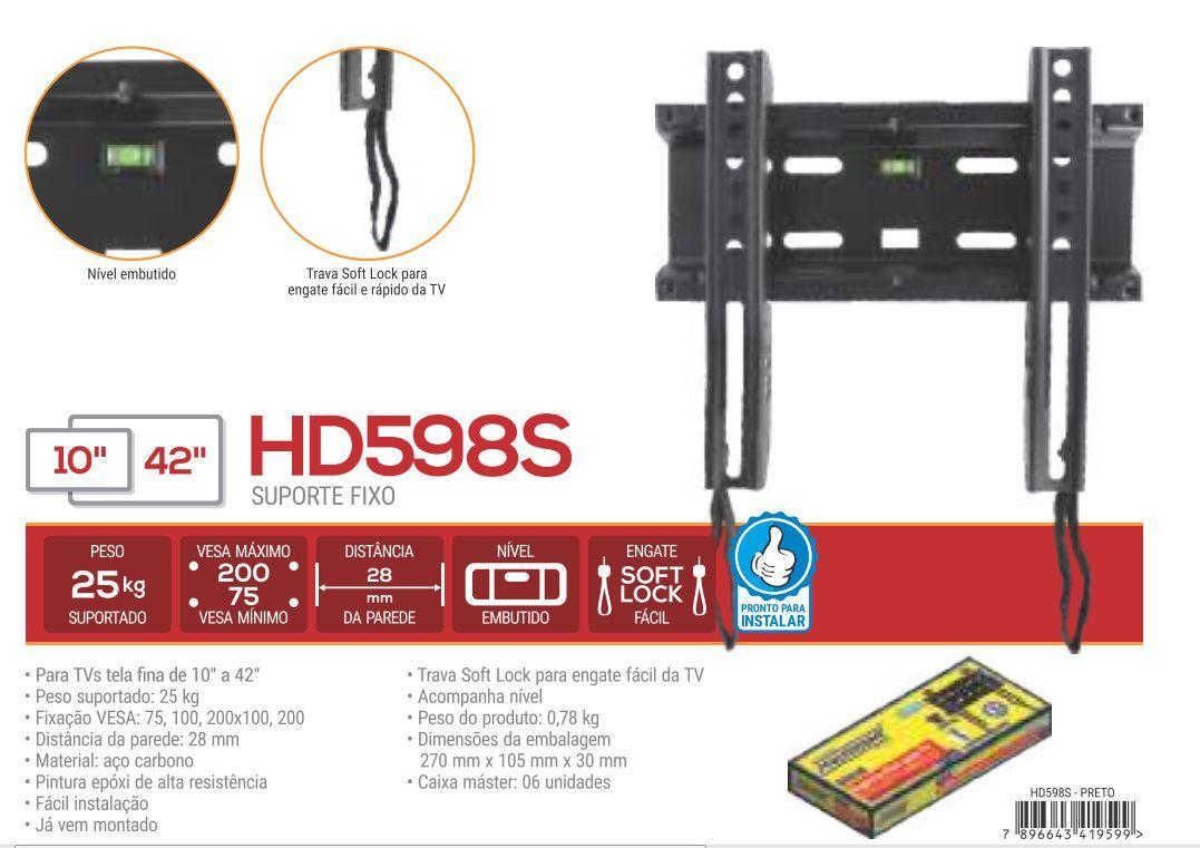 "HD 598 S Suporte Fixo para TV LCD/LED de 10"" a 42"" - Preto"