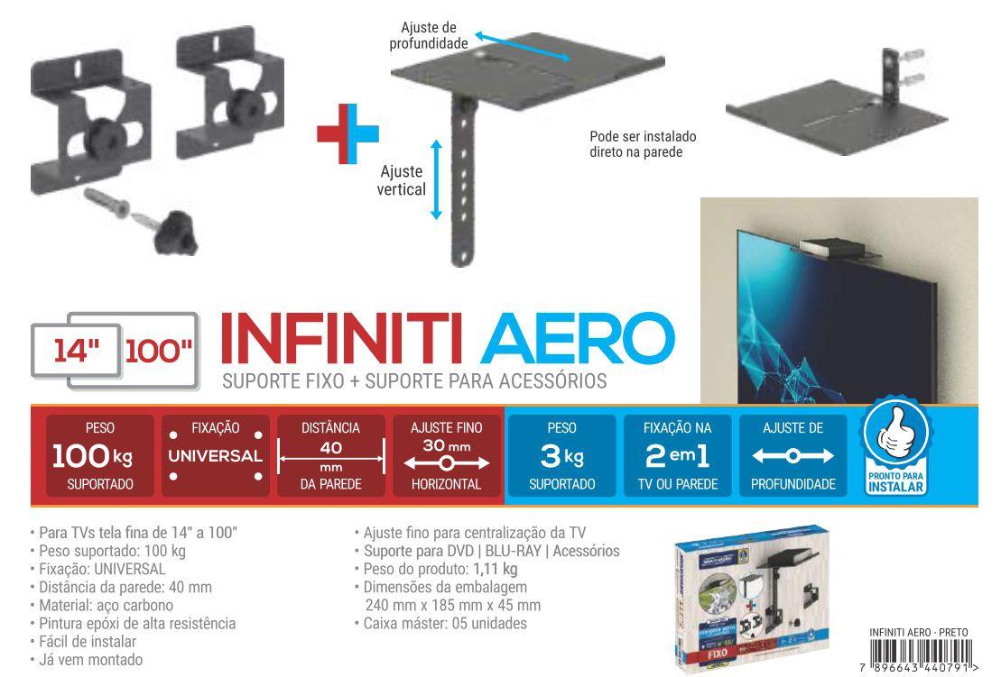 Infinit Aero Suporte para tv ate 56 pol + conversor