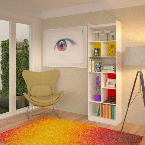 IRIS ESTANTE DECORATIVA - 01 fundo amarelo 60 x 60cm, 01 fundo vermelho 60 x 60cm, pintura Branca