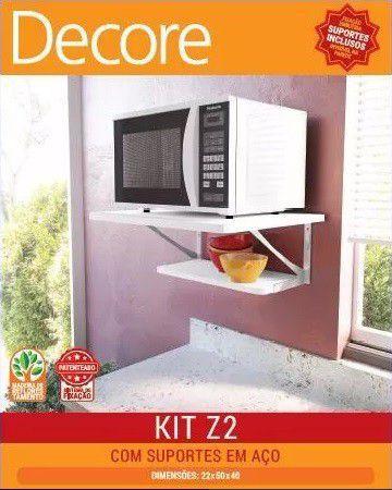 Kit com 02 prateleiras e suportes em aço KIT 2 Z