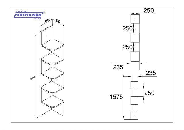 KIT CANTO 15825 Prateleira Multivisao Com suporte 10x60 cms em MDP