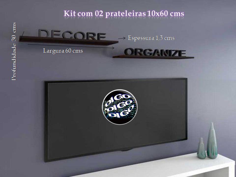 Kit com 02 Prateleiras Flutuante 10x60 cms com suporte incluso KIT-PBS-1060