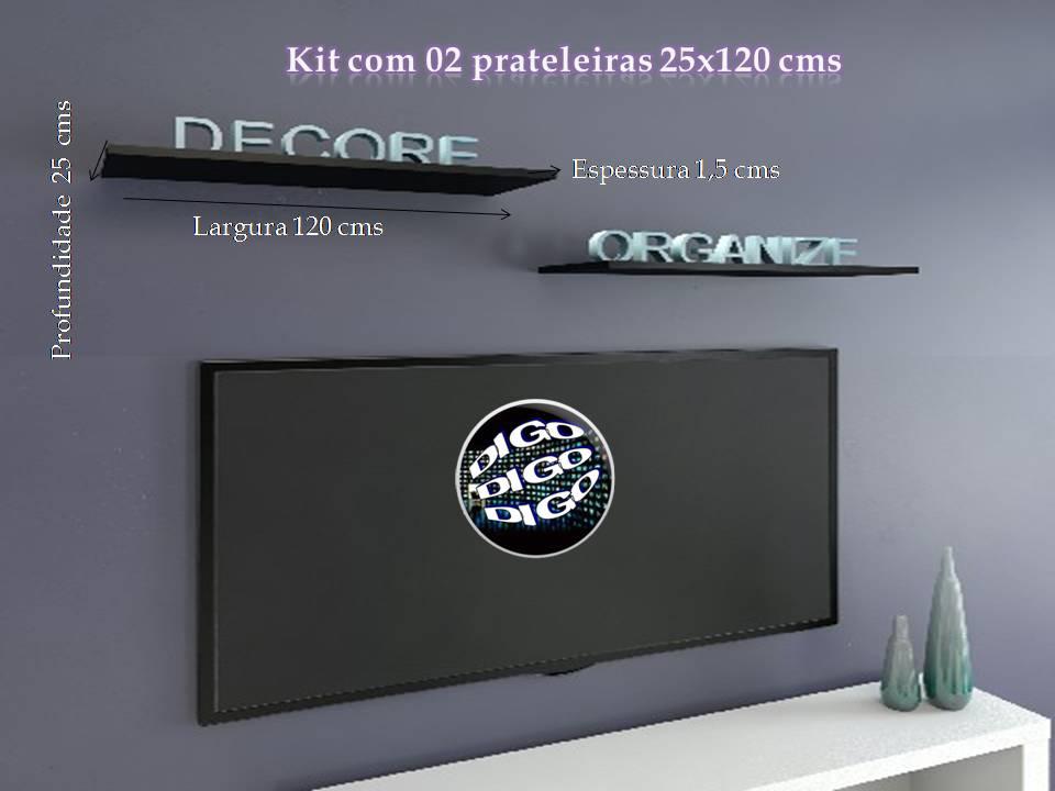 Kit com 02 Prateleiras Flutuante 25x120 cms com suporte incluso KIT-PBS-25120