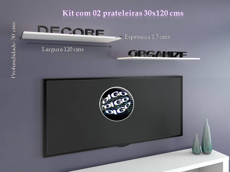 Kit com 02 Prateleiras Flutuante 30x120 cms com suporte incluso KIT-PBS-30120