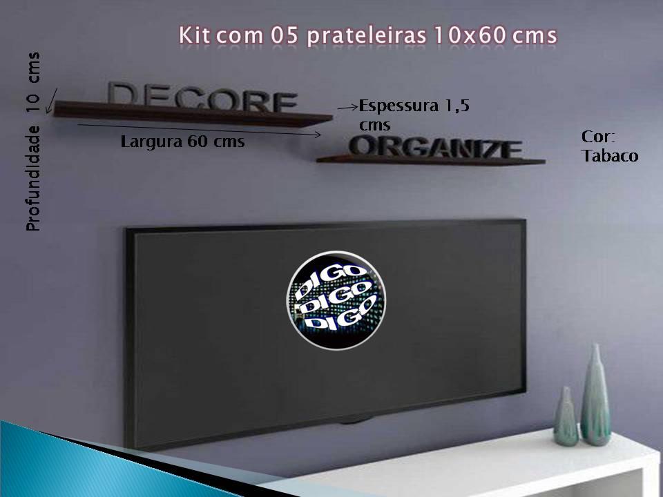 Kit com 05 Prateleiras Flutuante 10x60 cms com suporte incluso KIT-PBS-1060