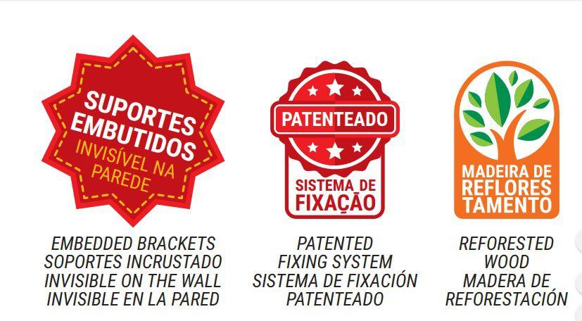 Kit com 05 Prateleiras Flutuante 25x90 cms com suporte incluso KIT-05PBS-2590