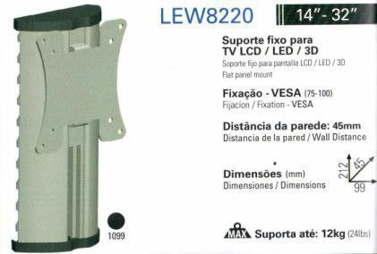 """LEW 8220 PRA Suporte Articulado com Inclinação para TV LCD/LED de 14"""" a 32'' - Prata"""