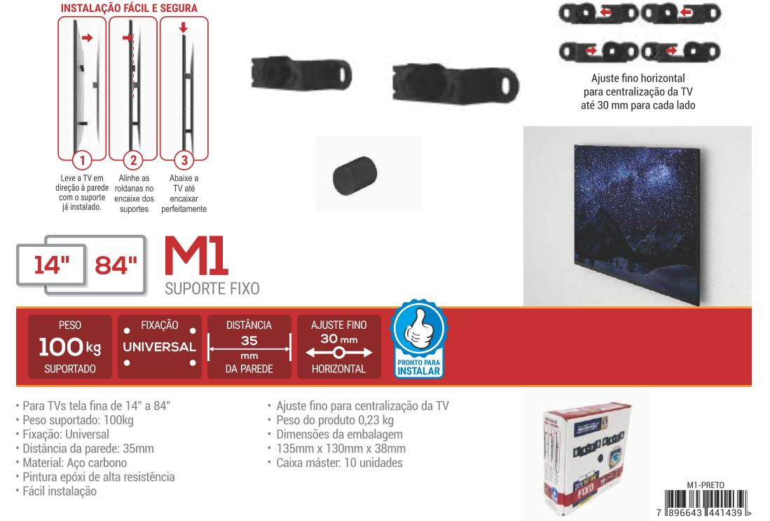 """M1 Suporte Fixo para TV LED de 14"""" a 84"""" - UNIVERSAL Cor: Preto"""