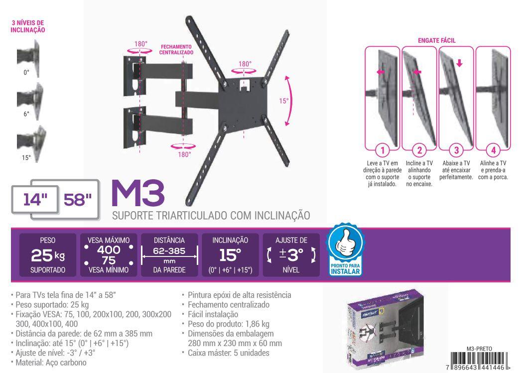 M3 Suporte Triarticulado com Inclinação para Tvs De Ate 58 Pol cor Preto