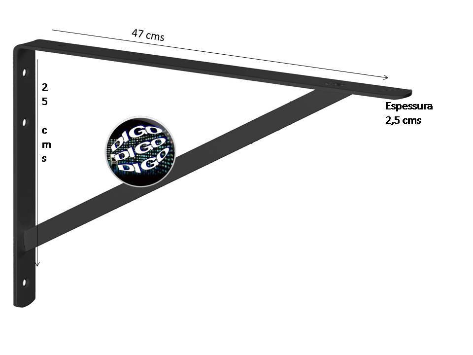 MFR4725 MÃO FRANCESA REFORÇADA 50CM. Suporte em L de aço carbono com 250x470x18mm. Espessura 2,5mm. (Valor Unitário)