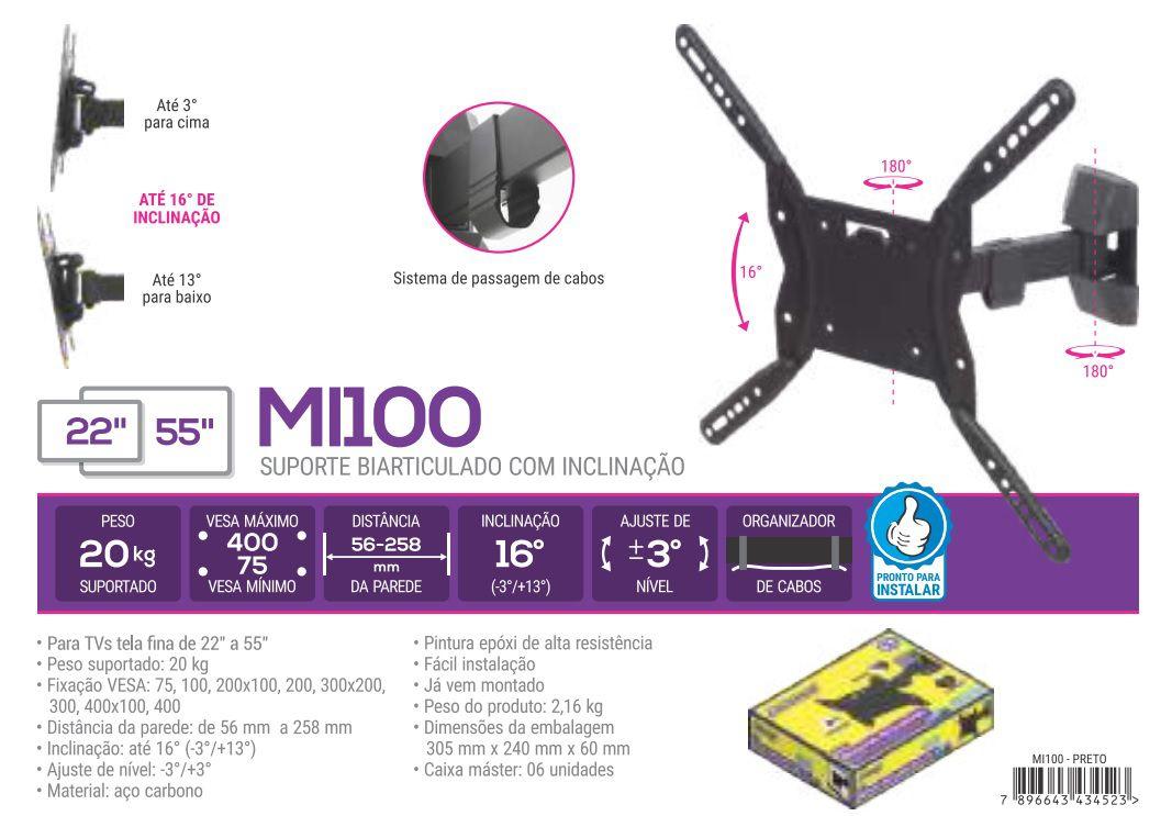 MI 100 Suporte Articulado com Inclinação para TV LCD 14 A 40 e LED 14 A 55 Pol