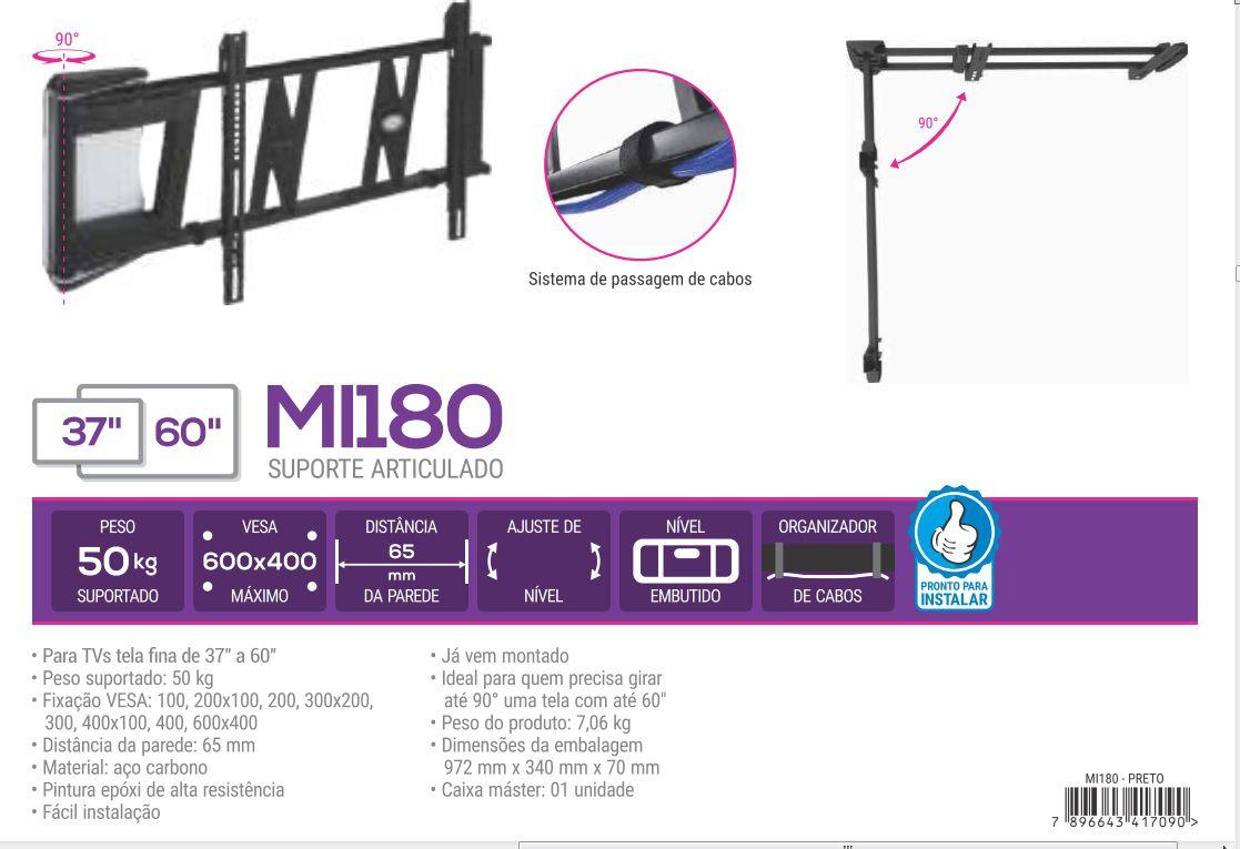 MI 180 Suporte Multivisao Suporte Articulado Tvs 37 A 60 Pol