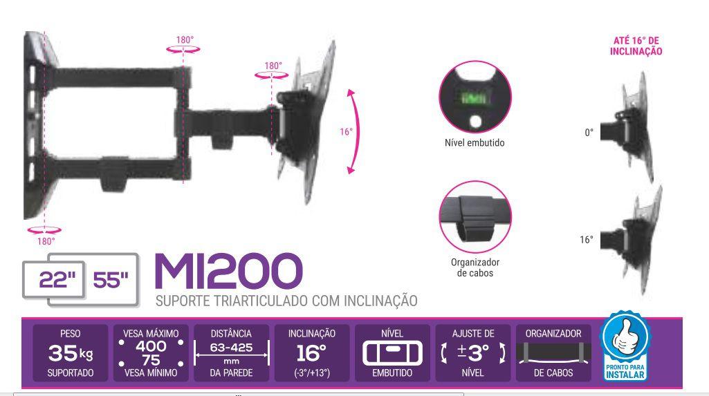 MI 200 Suporte Articulado com Inclinação para TV LCD de 14 A 40 e LED 14 A 55 Pol Cor: Preto