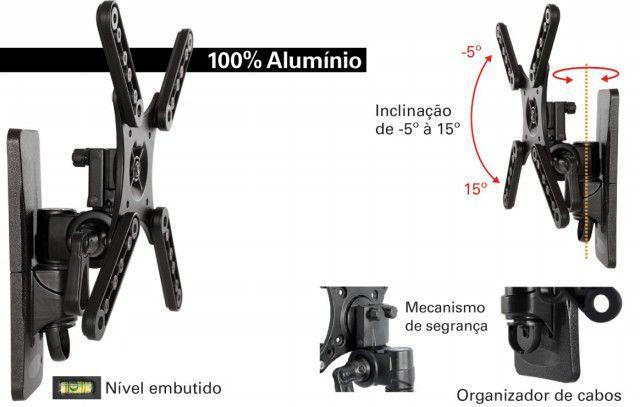 """MI 273 PRE Suporte Articulado com Inclinação para TV LCD/LED de 10"""" a 32"""" - Preto"""
