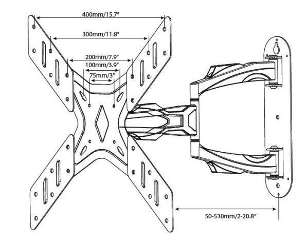"""MI 702 Suporte Articulado com Inclinação para TV LCD de 26"""" a 40'' e LED de 26"""" a 46"""""""