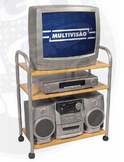 MR 3 Mesa para televisão com estrutura tubular metálica. COR: MARFIM/PRATA