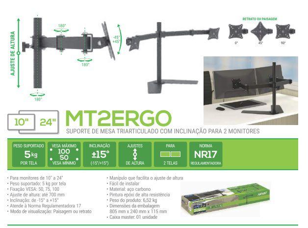 MT 2 ERGO Suporte para 02 Monitores Ate 24 Polegadas Cor: Preto